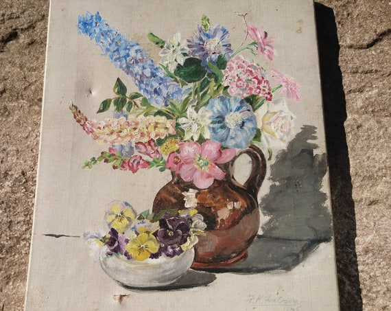Vintage 40's firescreen, oil painted canvas, floral