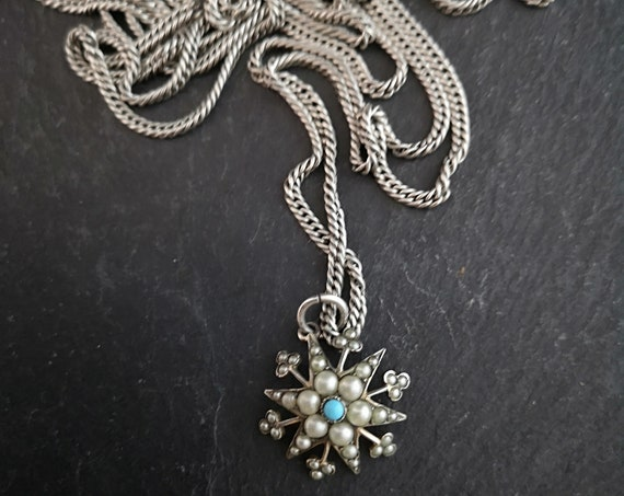 Antique star pendant, Victorian guard chain, silver, pearl and turquoise