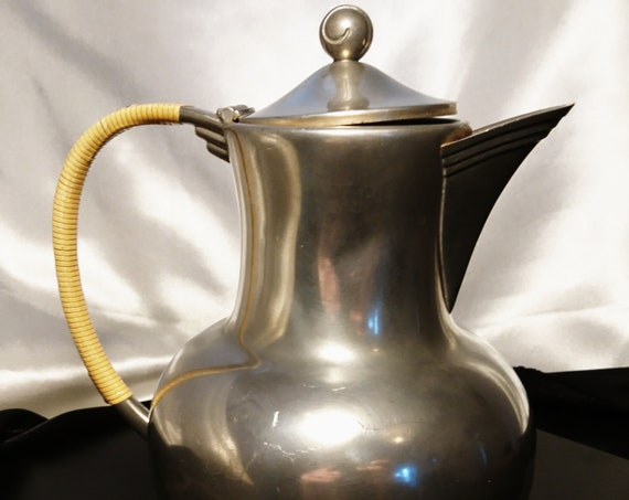 Vintage coffee pot / teapot, Royal Holland pewter, mid century, rattan handle