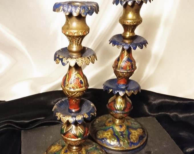 Antique Ottoman candlesticks, 19th century gilt metal, hand painted, pair of candlesticks