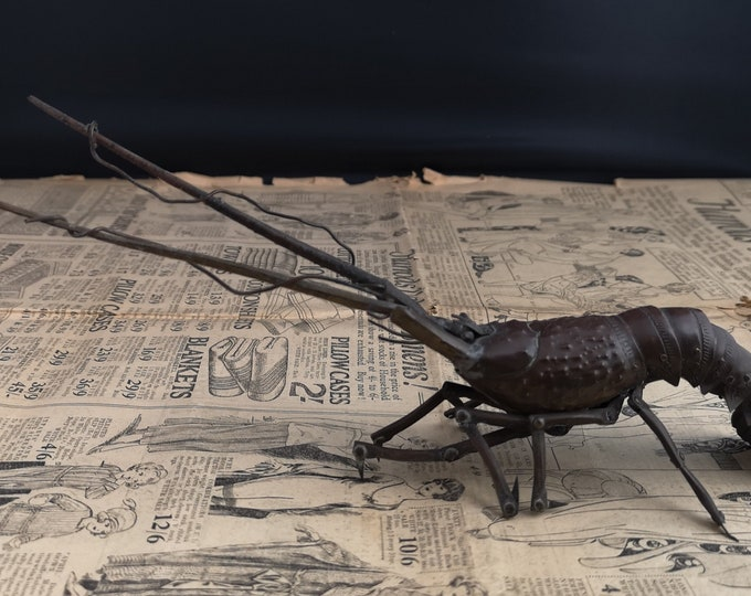 Antique copper lobster, Japanese Meiji era okimono, articulated lobster sculpture