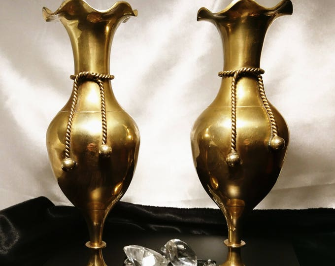 Antique brass vases, pair of Victorian brass knot vases, home decor