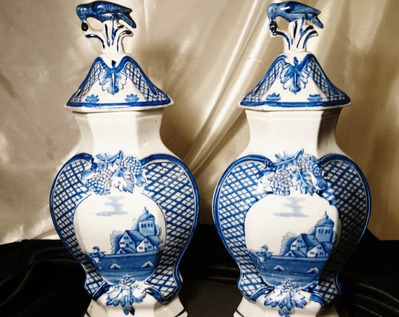Antique delft vases, blue and white, mantle vases, 18th century Dutch pottery