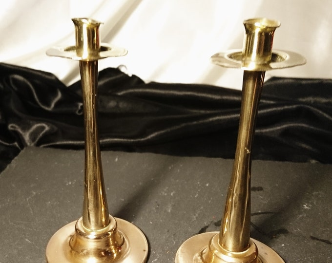 Antique candlesticks, tapering brass and bronze candlesticks, arts and crafts, rustic decor