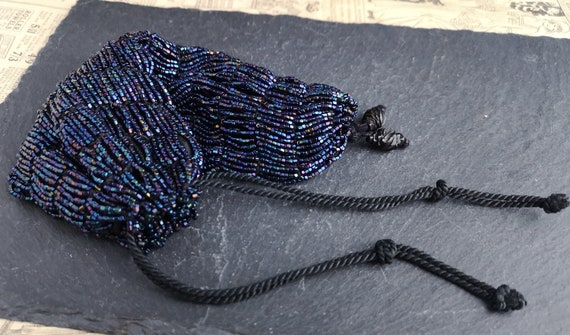 Vintage 20's Black rainbow bead reticule purse, coin pouch, jet beads