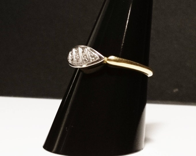 Vintage diamond ring, Art Deco, 18ct gold and platinum, 8 stone, engagement ring, statement ring