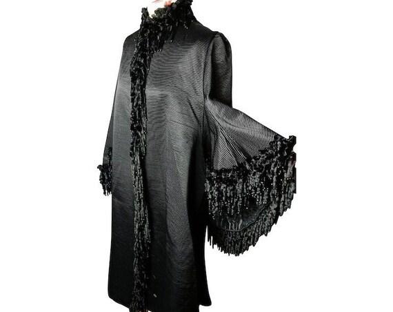 Victorian mourning coat, dolman sleeves, bombazine silk, velvet and jet, rare antique coat, labelled