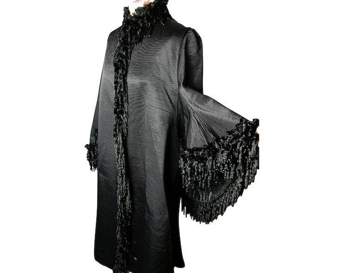 Victorian mourning coat, dolman sleeves, bombazine silk, velvet and jet, rare antique coat, labelled