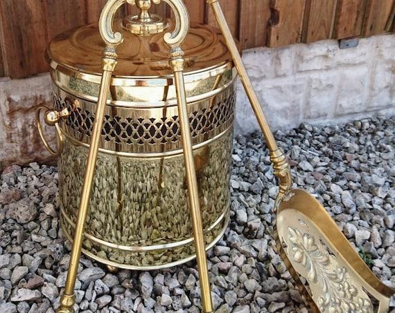 Victorian brass fire tools, fire companion set, antique log bin, rustic antique decor