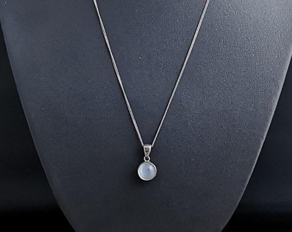 Antique silver moonstone pendant, Art Nouveau necklace