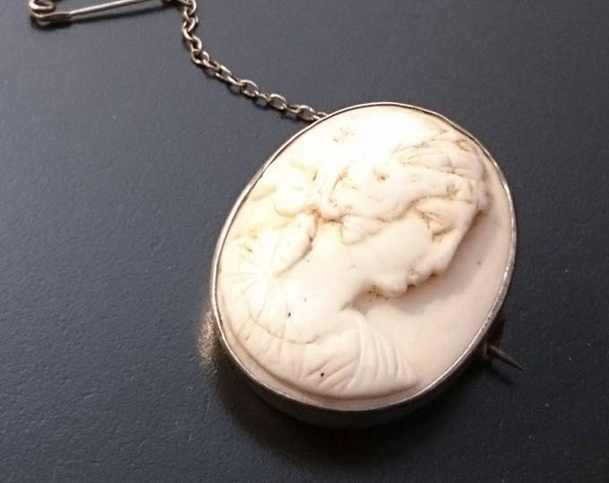 Georgian cameo brooch, sterling silver mount, white lava stone early cameo, antique brooch, 18th century