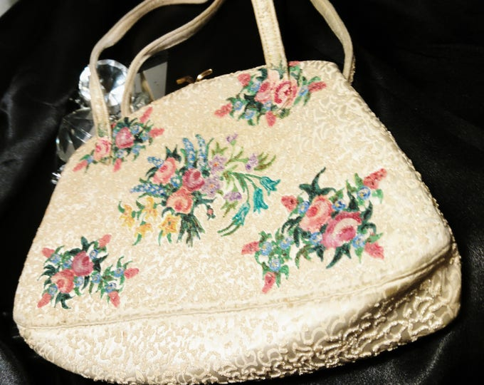 Vintage 40's evening bag by Waldybag, hand painted floral