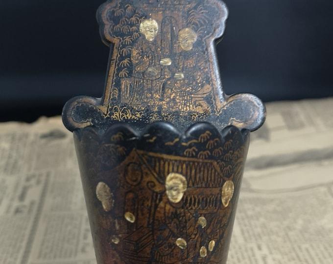 Antique chinoiserie match striker, Wall mountable vesta, papier mache and gilt