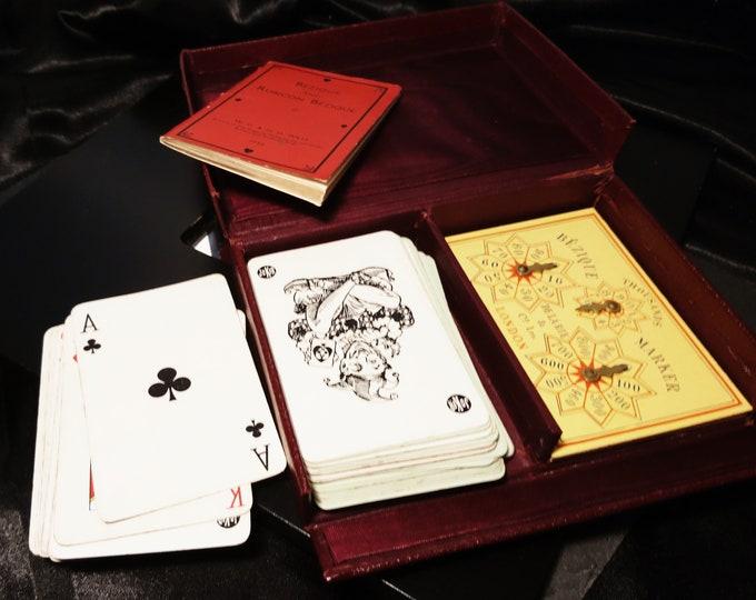 Vintage 30's bezique game, leather cased, rubicon bezique, De La Rue