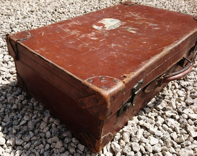 Antique leather suitcase, large English rustic, tan leather travel case, hand tooled