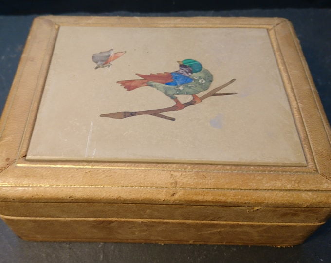Antique pietra dura jewellery box, Italian, leather covered, trinket box, bird and butterfly