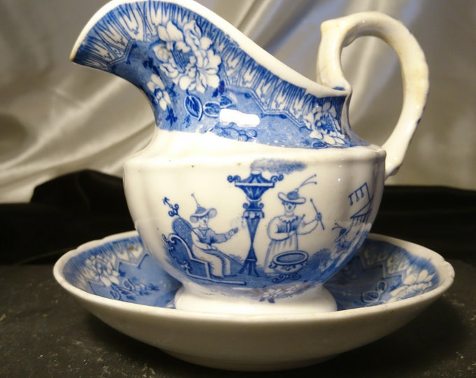 Antique delft jug and bowl, blue and white, pitcher and dish, 18th century Dutch pottery