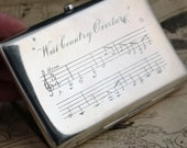 Antique cigarette case, Victorian sterling silver, musical