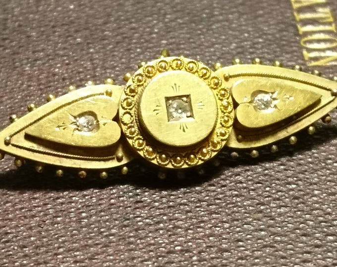 Victorian diamond mourning brooch, antique 15ct gold, crystal hair verso, Etruscan style