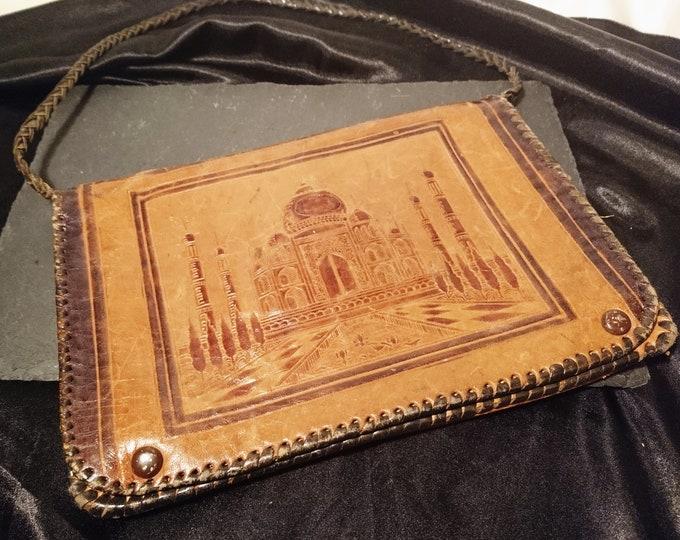 Antique leather handbag, Indian leather, satchel bag, messenger bag, hand tooled leather, Boho