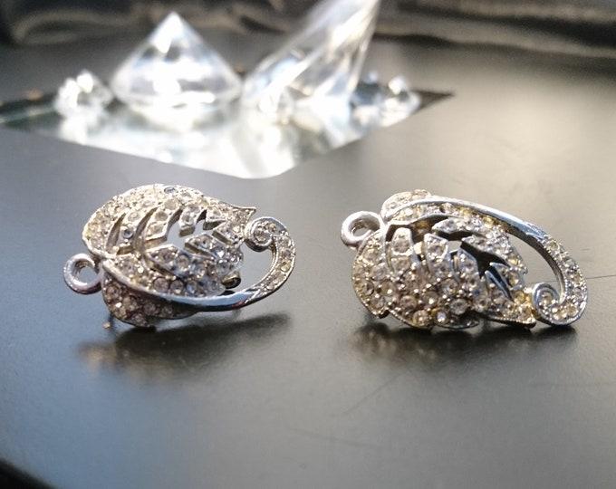 1930's clip-on earrings, leaf design, diamanté clip-ons