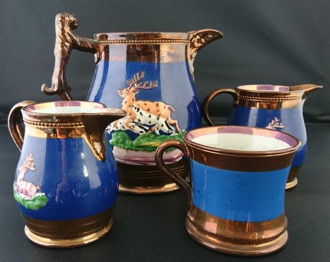 Antique Staffordshire jug set, copper lustreware, 4pcs set, 19th century pottery, stag design