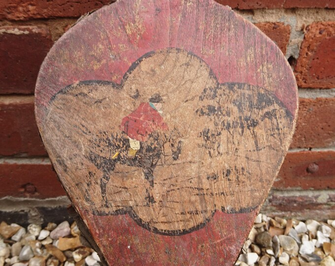 Antique English Victorian fire bellows, rustic and shabby chic, hand painted and riveted, hunting scene