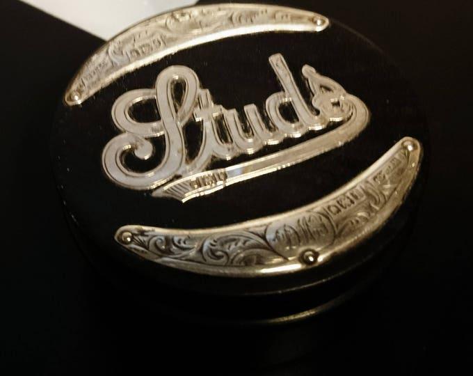 Antique silver and ebony stud box, mens antique stud box, fully hallmarked, London 1901
