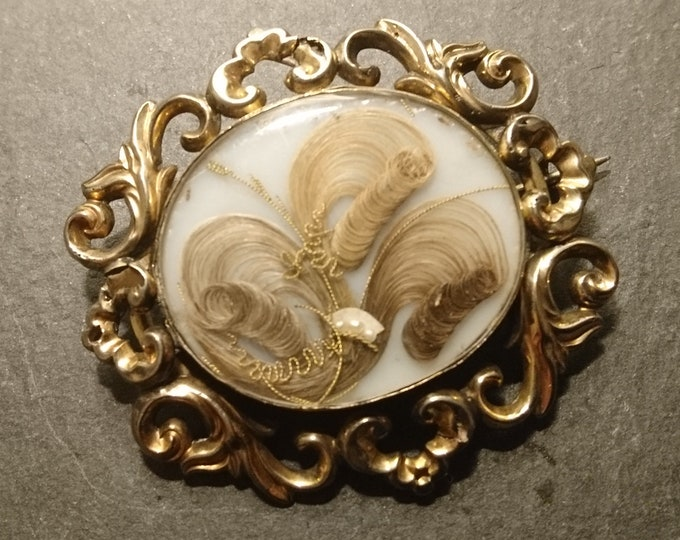 Georgian mourning brooch, hairwork and seed pearl, pinchbeck, antique double hair verso brooch