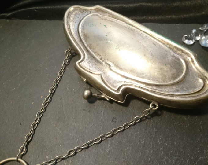 Antique silver plated finger purse, rustic, worn, restoration project