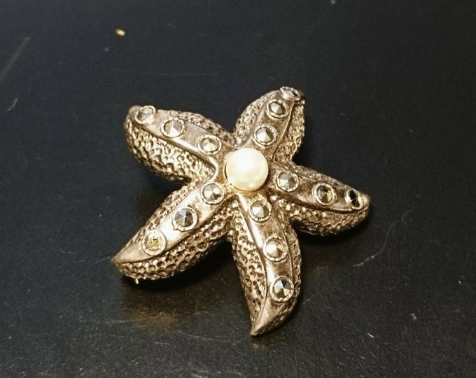 Starfish brooch, sterling silver, marcasite and pearl starfish brooch, vintage art deco 1920's