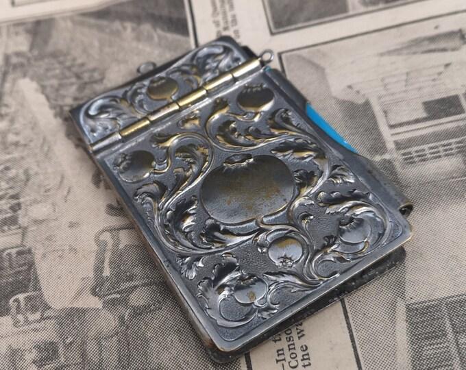 Antique Art Nouveau aide memoir, silver plated, guilloche enamel pencil
