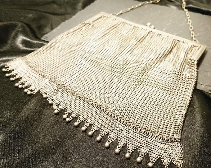 Victorian chain mail purse, antique mesh purse, evening bags, fringed