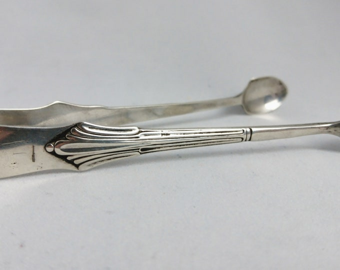 Antique sterling silver sugar tongs, sugar nips, Victorian era