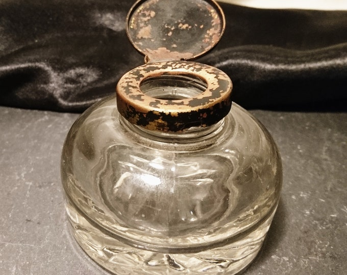 Antique Victorian inkwell, rustic, glass dump style, shabby chic