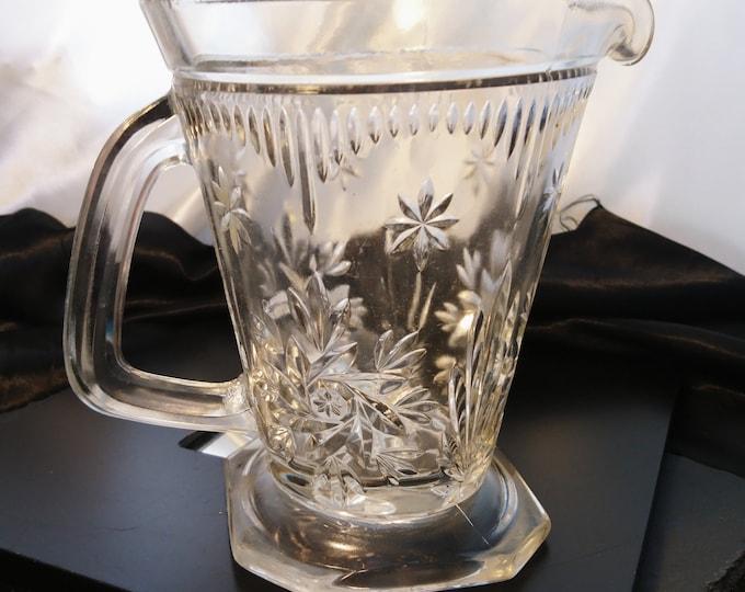 Victorian brilliant cut lemonade jug, antique glass water pitcher