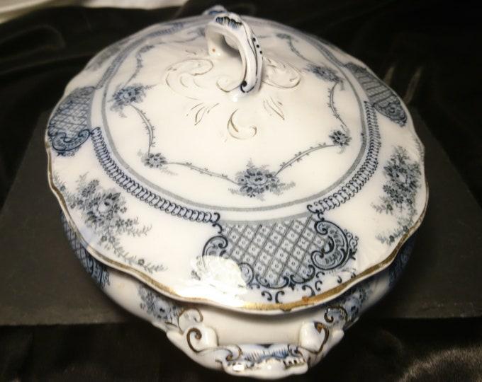 Antique China tureen, flow blue serving Tureen, Edwardian era, Wood and Sons, antique serveware
