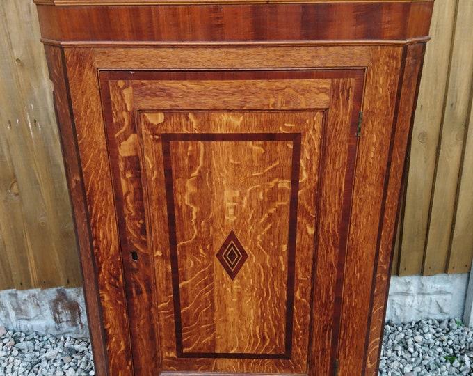 Georgian inlaid oak corner cupboard, antique hanging cupboard