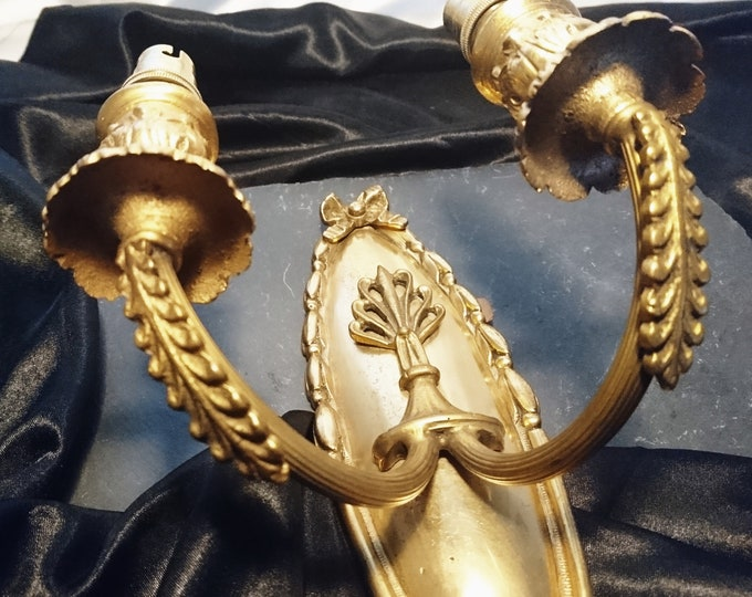 French antique light sconce, gilt bronze, converted candle sconce, antique light fittings, wall light