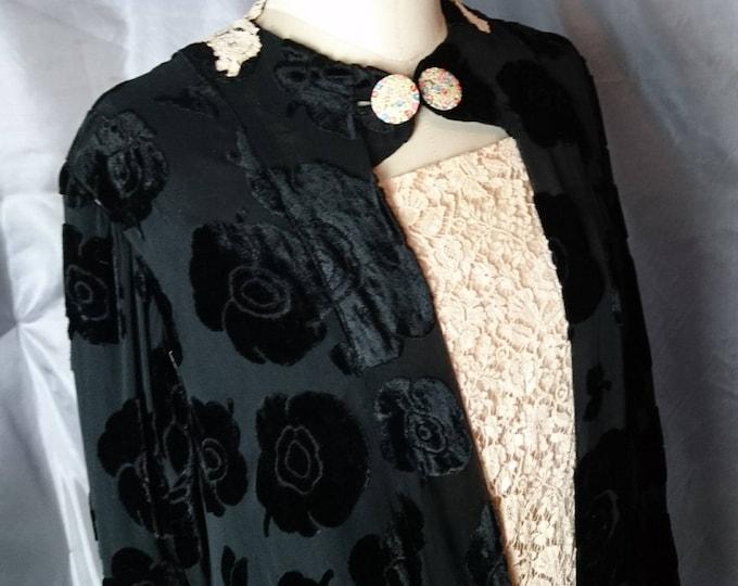 20's velvet devore dress, art deco, vintage evening gown, black devore velvet, cream lace, long sleeved