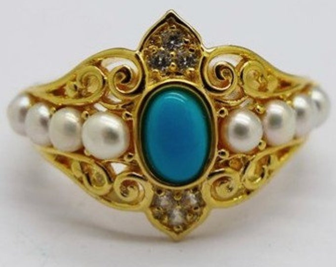 Antique turquoise, pearl and white zircon ring, silver gilt filigree, beautiful large turquoise