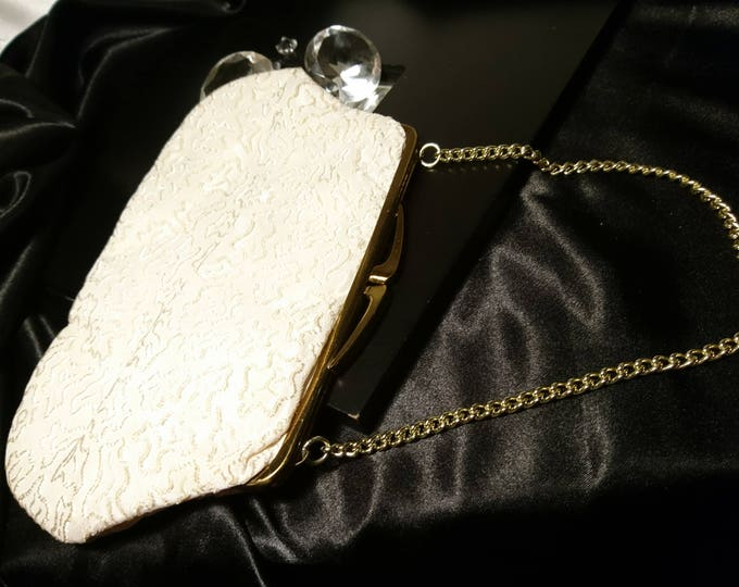 Vintage 40's evening bag, embossed satin evening purse, vintage handbag