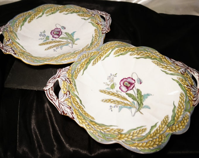 Pair of Victorian bread plates, bread roll platters, early Victorian, poppies and wheat, August harvest