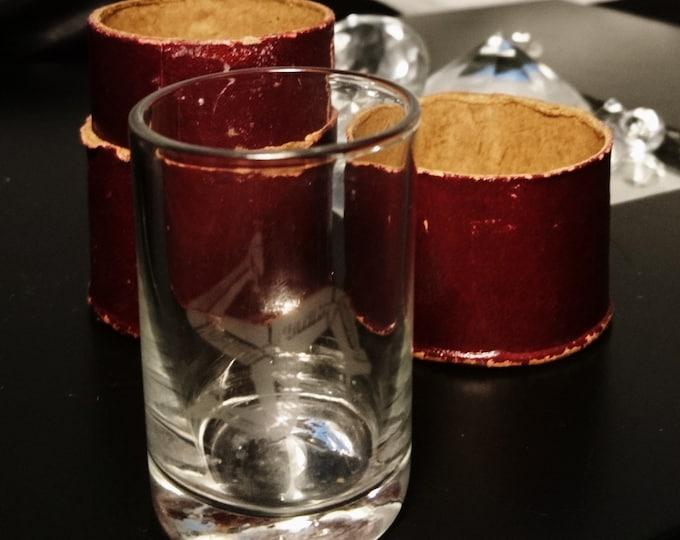 Antique shot glass, cased in original case, Isle of man souvenir, nip glass