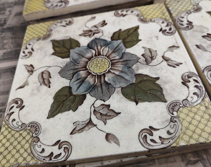 Antique Victorian tiles, fireplace tiles, aesthetic, floral wall tiles, set of 6
