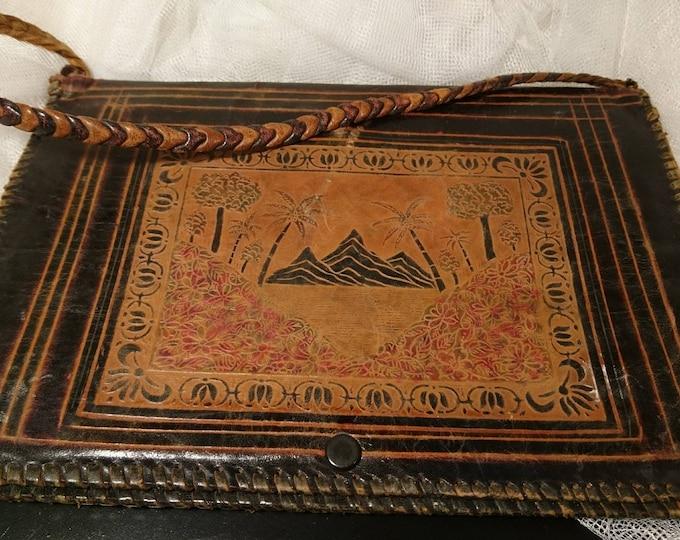 Antique leather handbag, Indian leather, satchel bag, messenger bag, hand tooled leather