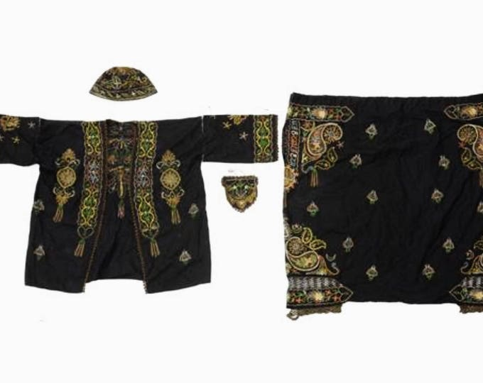 Rare antique embroidered South East Asian ensemble, jacket, hat, purse, pants, museum piece