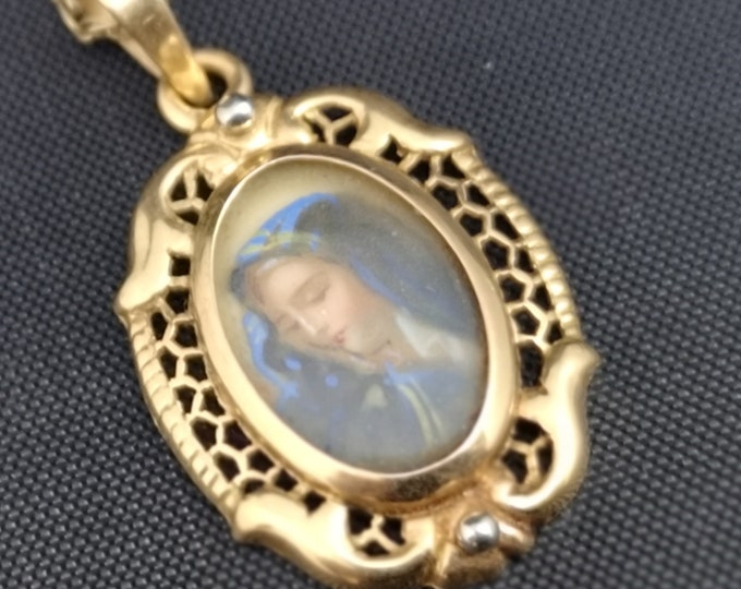 Antique Georgian pendant, 18ct gold picture pendant virgin Mary, rock crystal, holy mother, long gold necklace