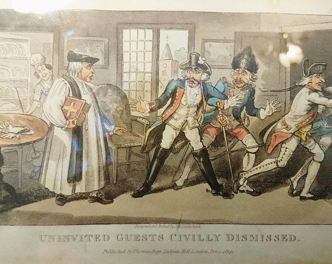 Georgian satirical print, Uninvited Guests Civilly Dismissed, 1819, I. R. Cruikshank, caricature etching