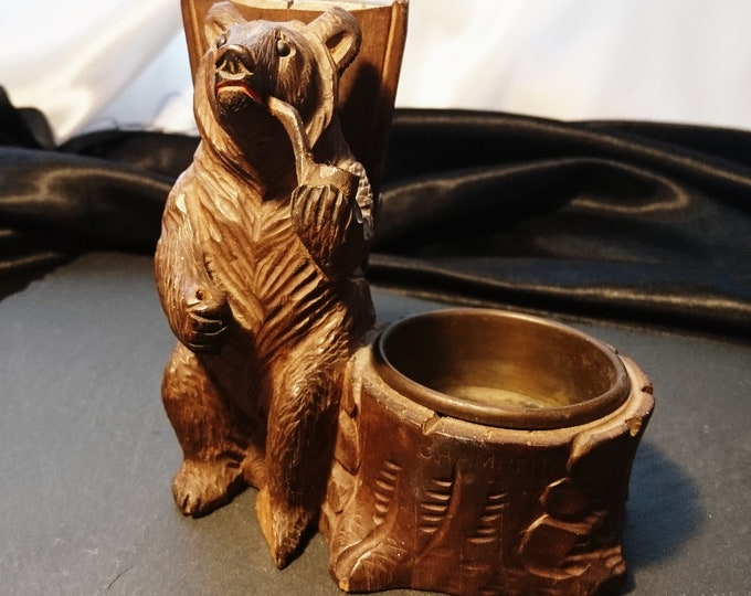 Antique black forest bear figural match safe and ashtray, carved Swiss Lime wood, pipe smoking bear